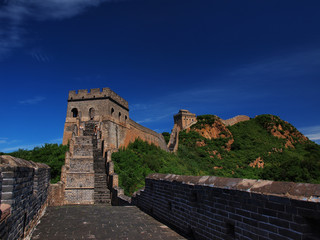 The Great Wall of China at Simatai during beautiful blue cloudless day