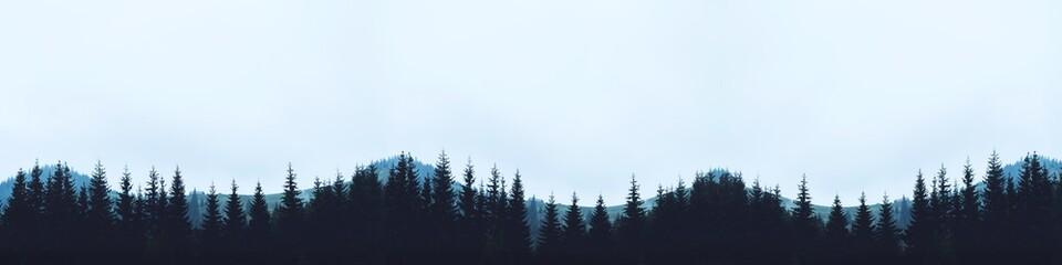 panorama mountains silhouette trees