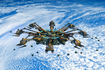 3D Rendering of alien spaceship and drones above Earth, for futuristic, fantasy or interstellar travel backgrounds.
