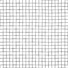 Black grid on white seamless vector background texture. Hand drawn doodle lines.