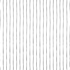Black thin vertical hand drawn stripes on white seamless vector background texture. Hand drawn doodle lines.
