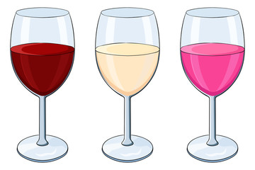 Glass of wine. Red, white and rose wine. Colored doodle
