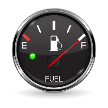 Fuel gauge. Full tank. Round black car dashboard 3d device with chrome frame
