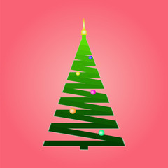 Silhouette of a Christmas tree from a green ribbon on a pink background