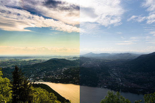 Before and after an example of photo editing process, color correction, brightness and saturation of a sunset from the balcony of the Voltiano di Como lighthouse