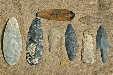 Collection of Authentic Mayan Artifacts - Arrowheads