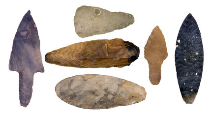Collection of Authentic Mayan Artifacts - Arrowheads Isolated on White