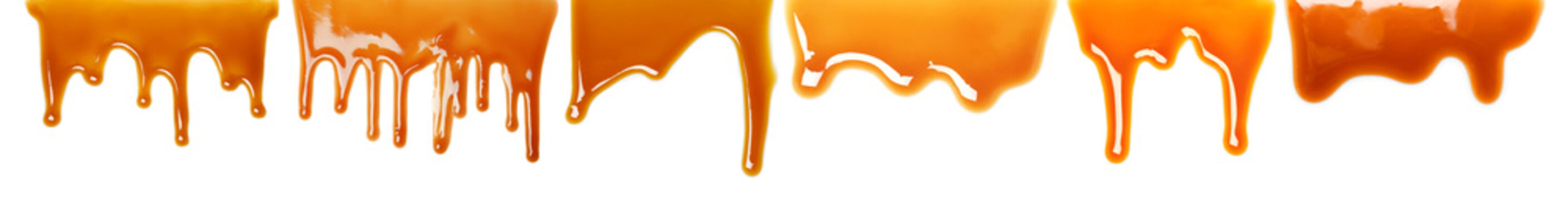 Set with delicious caramel sauce on white background
