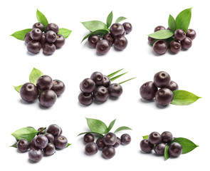 Set with acai berries and green leaves on white background. Organic superfood