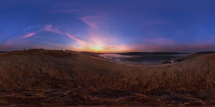 foggy sunrise at riverside spherical panorama