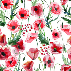 Bright beautiful wonderful summer autumn herbal floral red poppies flowers with green leaves pattern watercolor