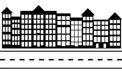 linear cityscape small town street scene vector eps 10