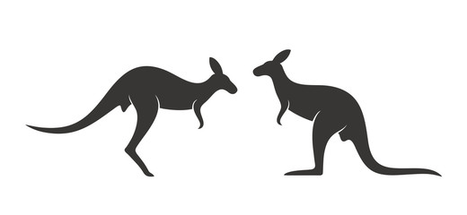 Kangaroo logo. Isolated kangaroo on white background