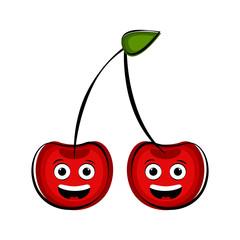 Happy cherry cartoon character emote