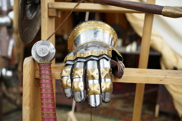 Artfully Handforged Knights armor and helmets for collecting and carrying on festivals