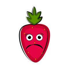 Sad strawberry cartoon character emote