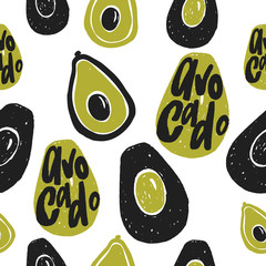 Avocado vector seamless pattern. Hand drawn illustration and lettering.