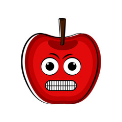Angry apple cartoon character emote