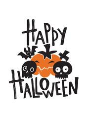 Happy Halloween. Hand lettering poster. Vector illustration of bat, pumokin, skull grave