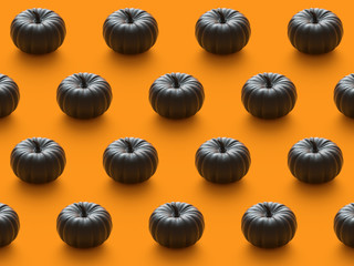 Halloween holiday background with glitter pumpkin decor. View from above. Flat lay. 3d render