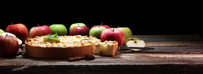 Wall Mural - Apple pie or homemade cake with apples. Delicous dessert apple tart
