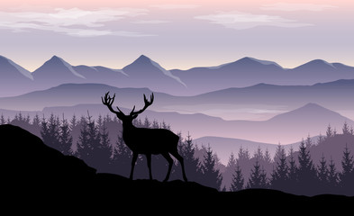 Fototapete - Vector landscape with misty mountains, forest and silhouette of deer