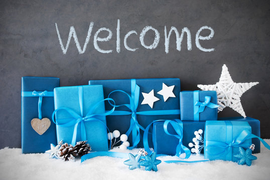 Many Blue Christmas Gifts, Snow, Text Welcome