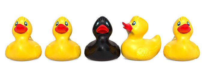 Black rubber duck among yellow rubber ducks. The ugly duckling concept, 3D rendering