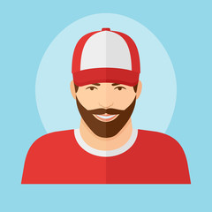 Man with beard in baseball cap flat style icon. Male character vector illustration.