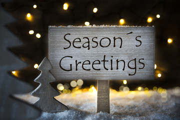 White Christmas Tree, English Text Seasons Greetings