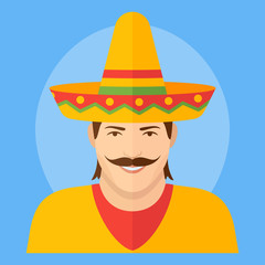 Mexican man in sombrero flat icon on blue background. Male character vector illustration.