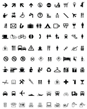 Set of different icons on a white background