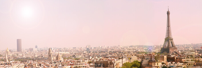 panoramic view of paris with the eiffel tour at sunrise