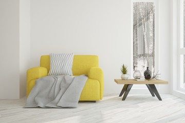 White room with yellow armchair. Scandinavian interior design. 3D illustration