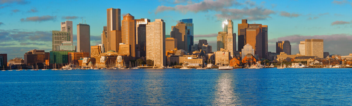 View of Financial District and Harbor in Boston, USA