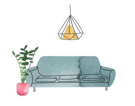 vector interior design hand drawn watercolor illustration. living room furniture sketch.  interior design logo banner.