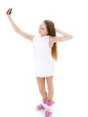 cute little girl making selfie