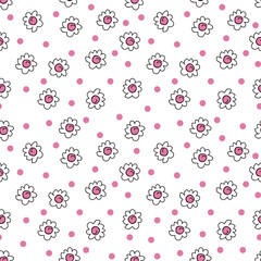 simple seamless vector background chamomile drawing, pink flowers ordinary, easy simple drawing the background of polka dots