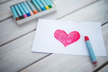 Drawing heart paper pink, kids children, kindergarden, pastels, wooden table, romantic, valentine's day, childcare kindy