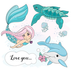School Autumn Sea Underwater Vector Illustration Set MERMAID LOVE for Digital Print, Holidays, Wall Art, Scrapbooking, Photo Album Design and Digital Paper