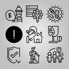 Simple 9 icon set of insurance related [iconsRandom:4] vector icons. Collection Illustration