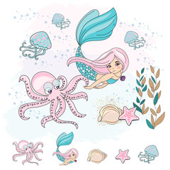 School Autumn Sea Underwater Vector Illustration Set MERMAID OCTOPUS for Digital Print, Holidays, Wall Art, Scrapbooking, Photo Album Design and Digital Paper
