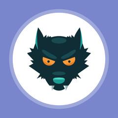 Halloween wolf flat vector