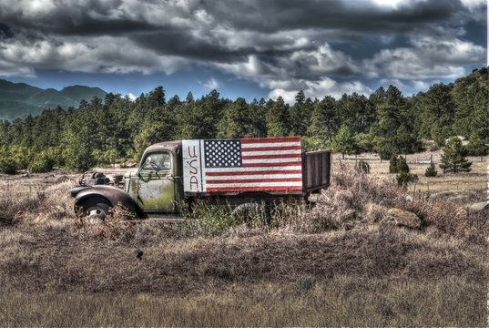 truck, flag and clouds