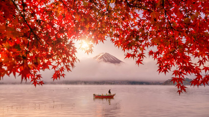 Poster Japan Red autumn leaves, boat and Mountain Fuji