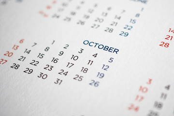 October calendar page with months and dates