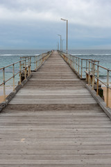 The Port Noarlunga Jetty with no people in South Australia on 23rd August 2018