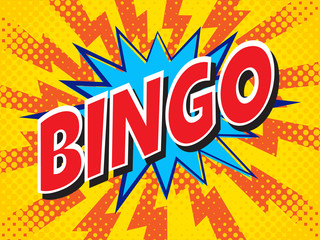 Bingo, wording in comic speech bubble on burst background