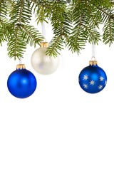 Blue and White Baubles on Christmas Tree Branch