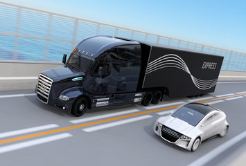 Black Fuel Cell Powered American Truck passing a white sedan on highway. 3D rendering image.